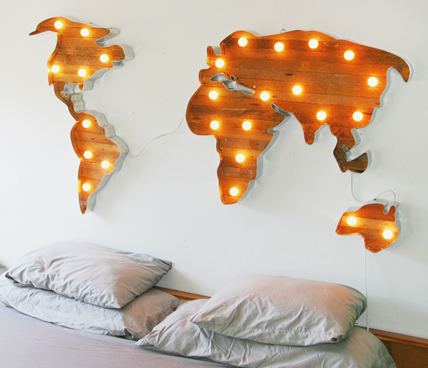 Growing up with the world on your wall we are adventure world map with marquee lights weareadventure gumiabroncs Choice Image