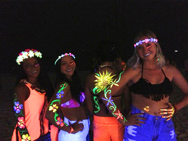 Bodies Fuly Painted for Dancing Under a Full Moon on Koh Phangan, Thailand // WeAreAdventure.us