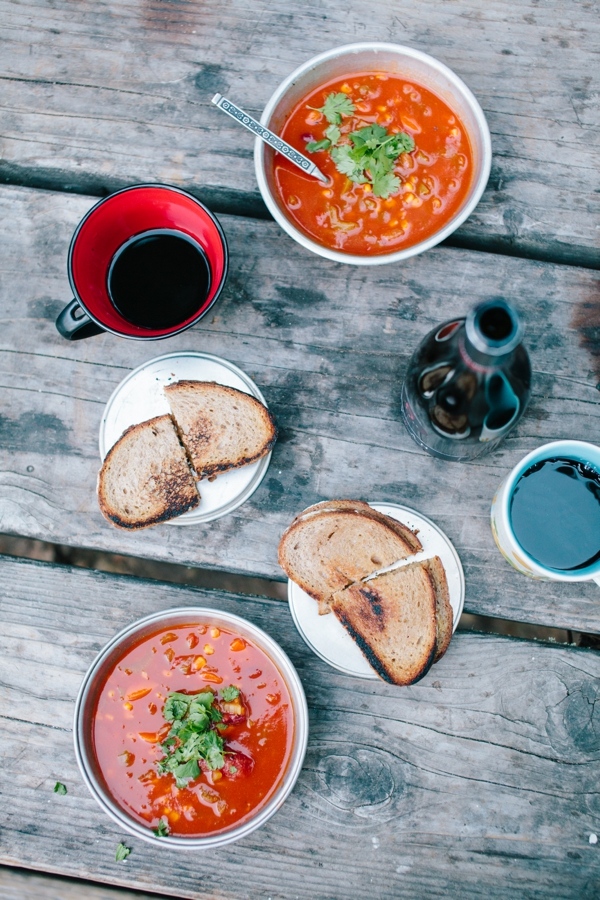 Super Easy Camp Meal: Vegetarian Chili! Served with Grilled Cheese, but could very very easily be made Vegan! // WeAreAdventure.us