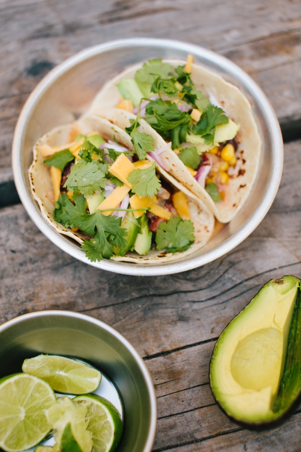 Super Easy Dinners for Camping: Fresh Vegetarian Tacos! So delicious! // WeAreAdventure.us